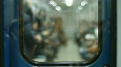 Passengers enter the wagon. - stock footage