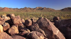 Native American Petroglyphs on Signal Hill in Saguaro National Park - stock footage