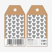 Vector tags design on both sides, cardboard sale labels with barcode. Recurring - stock illustration