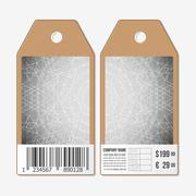 Tags design on both sides, cardboard sale labels with barcode. Sacred geometry - stock illustration