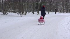 Active mother pulls daughter baby on sledge on park road in cold winter time. Stock Footage