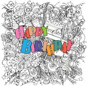 Stock Illustration of Happy Birthday doodle greeting card on white background with celebration