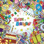 Happy Birthday doodle greeting card on background with celebration elements - stock illustration