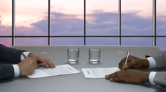 Signing of the international contract. Stock Footage