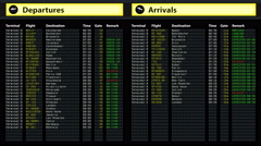 Airport timetable arrivals and departures board with changing flight information - stock footage