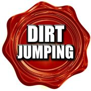 dirt jumping sign background - stock illustration