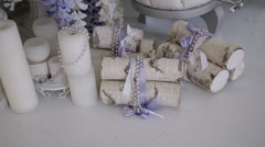 Decorative Candles, Flowers, and Wood Stock Footage