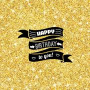 Perfect happy birthday template with golden confetti theme Piirros