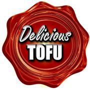 Delicious tofu sign - stock illustration