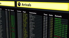Flight schedule board at airport, travel information, arrivals and departures - stock footage