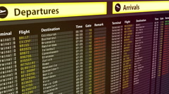 Flights change to canceled on arrival and departures sign board, bad weather - stock footage