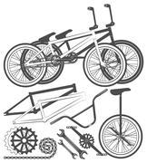 Set of bike elements, bicycle parts, wheel, chain, unicycle - stock illustration