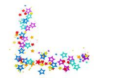 Close-up cropped shot of decorative star shapes arranged on plain white backg - stock photo