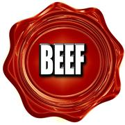 Delicious beef sign - stock illustration