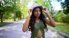 Stock Video Footage of Portrait of smiling young ethnic Indian girl wearing hipster clothing