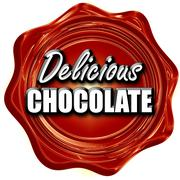 Delicious chocolate sign - stock illustration
