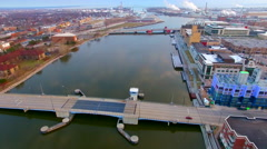 Scenic arial flyover of Green Bay Wisconsin's downtown waterfront Stock Footage