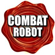 combat robot sign background - stock illustration