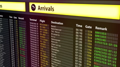 Arrival and departures timetable at airport, all flights canceled due to weather - stock footage