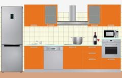 illustration of cabinets kitchen with electric appliances - stock illustration