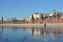 The Kremlin embankment in Moscow. - stock photo