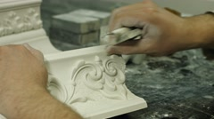Careful work on gypsum. Stock Footage