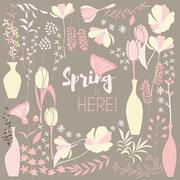Floral spring card design, with hand drawn flowers, floral elements and monar Stock Illustration