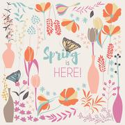 Floral spring card design, with hand drawn flowers, floral elements and monar - stock illustration