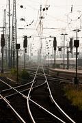 Railway tracks, Frankfurt, Germnay - stock photo