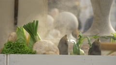 Vegetables getting grilled outdoors in Ljubljana Stock Footage