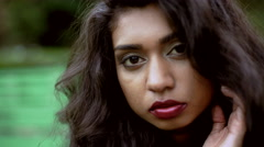 Portrait of sultry Indian Asian girl in retro clothing for social media Stock Footage