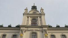 Side wall tower of University of Ljubljana building in Ljubljana Stock Footage