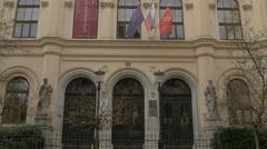 The facade of Vegova Technical School in Ljubljana Stock Footage