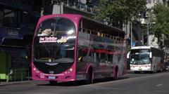Montevideo tour bus takes tourists on excursion, Uruguay Stock Footage