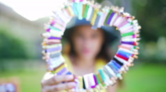 Hispanic girl in bright summer clothes smiling for social media video diary - stock footage