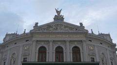 Slovenian National Opera building in Ljubljana Stock Footage
