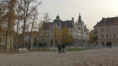 People walking in the Congress Square in Ljubljana Stock Footage