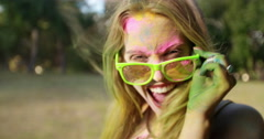 Close up Face Shot of Girl Covered in Holi Powder Stock Footage