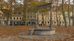 Water fountain in Congress Square in Ljubljana Stock Footage