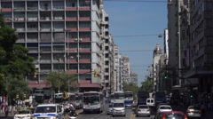 Busy traffic on 18 July Avenue, Montevideo, Uruguay Stock Footage