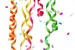 Close-up shot of multi colored confetti and streamers over plain white backgr Stock Photos