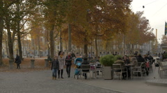 Relaxing time in the Congress Square in Ljubljana Stock Footage