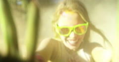 Close up Face Shot of Girl Covered in Holi Powder - stock footage