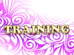 TRAINING bright color letters on nice rose ornament background Stock Illustration