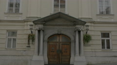 Facade of Slovenian Academy of Sciences and Arts building in Ljubljana Stock Footage