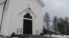 Exterior of the church building in Trysil, Norway. Stock Footage