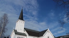 Exterior of the church building in Trysil, Norway. - stock footage