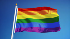 The gay pride rainbow flag in slow motion seamlessly looped with alpha Stock Footage