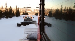 Moving track and  the snowcat machine preparing ski slope in Trysil, Norway. Stock Footage