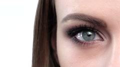 Blue eye makeup. Beautiful eyes makeup. Closeup Stock Footage